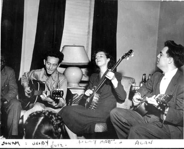 woody guthrie playing with friends