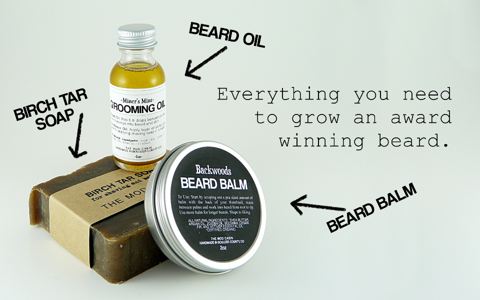 The Mod Cabin Beard Set - All Natural Beard Oil, Beard Balm, and Birch Tar Soap