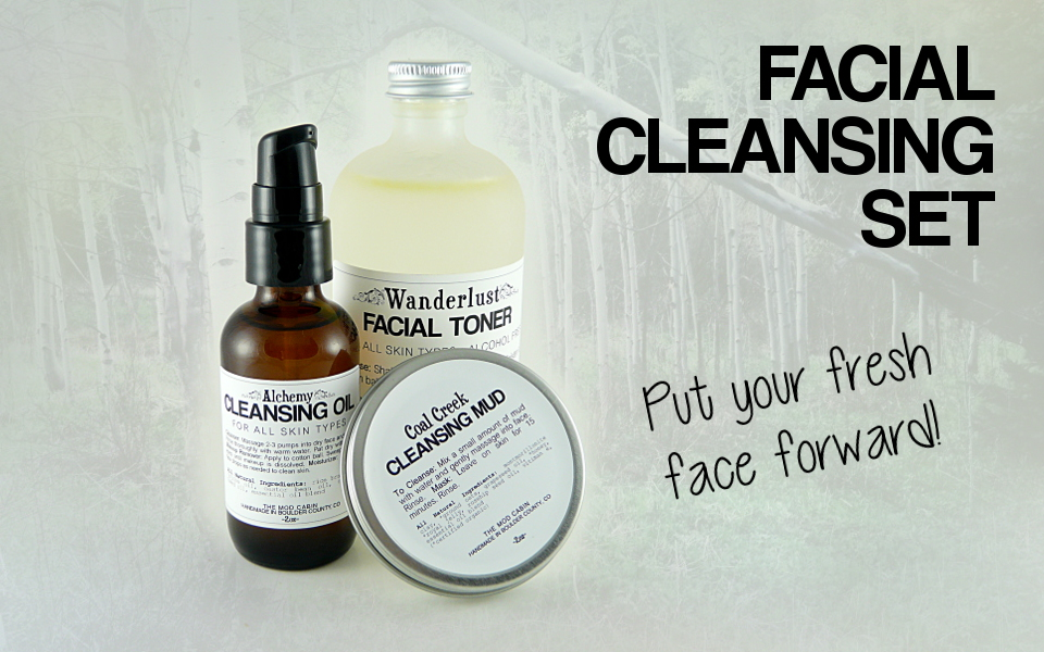 The Mod Cabin Face Cleansing Set - All natural cleansing oil, alcohol free toner, and cleansing mud