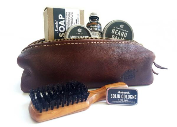 The Mod Cabin All Natural Products with Leather Toiletry Bag