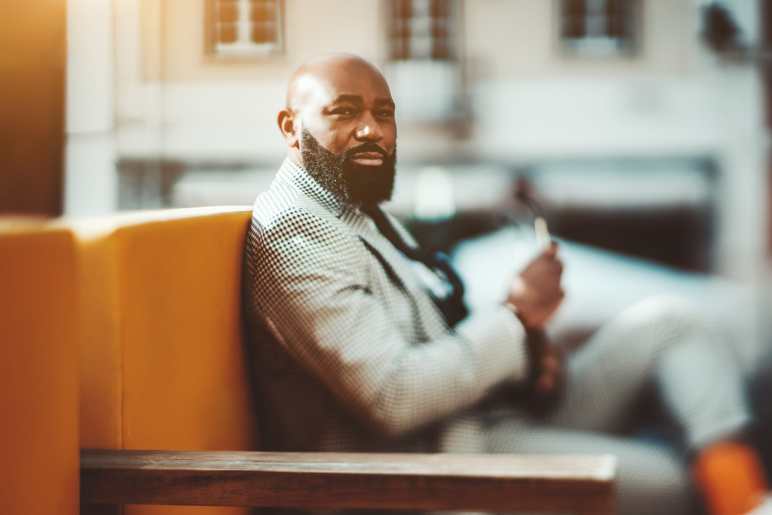 handsome black man with a beard